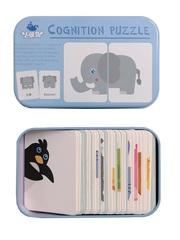 Развивающий пазл SHAPES PUZZLE Животные 32 элемента 16 заданий Серия Синия Птичка в жестяной коробке