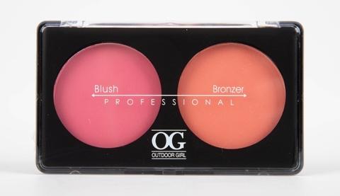 OG-Y6875 Румяна для лица шелковистые+бронзатор тон 02,Blush/Soft Lights Duo