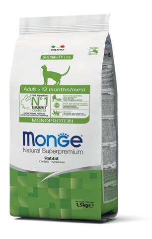 Купить Monge Cat Monoprotein Adult Rabbit корм для взрослых кошек с кроликом 1,5 кг