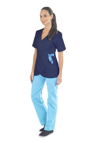 Медицинский топ-кимоно женский темно-синий с голубой завязкой MC6076_NVYM