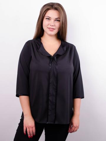 Вега. Оригінальна жіноча блуза плюс сайз. Чорний.