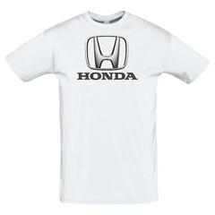 Футболка с принтом Хонда (Honda) белая 3