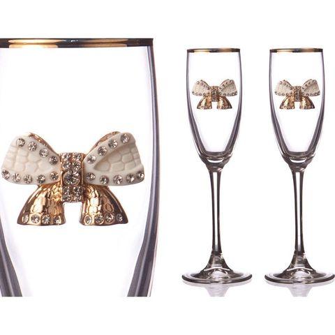 Набор бокалов для шампанского с золотой каймой и бантиком, 170 мл, 2 шт