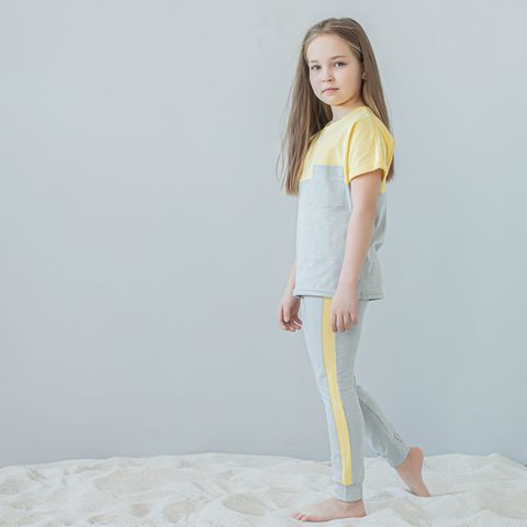 Duo leggings with stripes for teens - Ashy