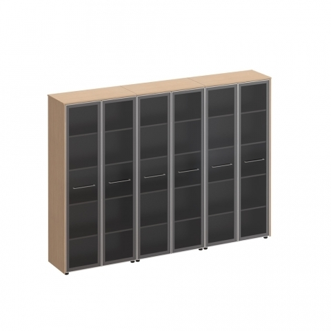 Шкаф для документов со стеклянными дверьми (274x46x196)
