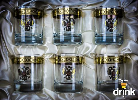Подарочный набор из 6 хрустальных стаканов для виски «Министерский», 290 мл