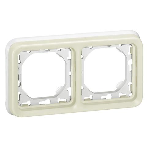 Рамка на 2 поста с суппортом для встроенного монтажа. Цвет Белый. Legrand Plexo (Легранд Плексо). 069694