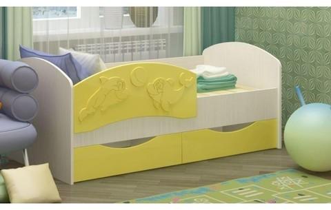 Детская кровать Дельфин-3 МДФ золотой, 80х160
