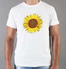 Футболка с принтом Цветы (Подсолнухи) белая 007