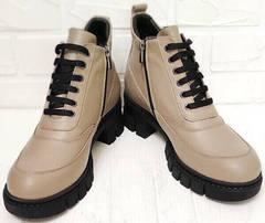 Женские ботинки ботильоны демисезонные Yudi B-20 082 Beige.