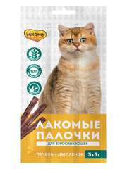 Лакомые палочки 13,5 см для кошек Мнямс с цыпленком и печенью