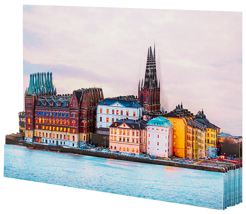 Папертоль Вечерний Стокгольм — собранная модель, вид сбоку.