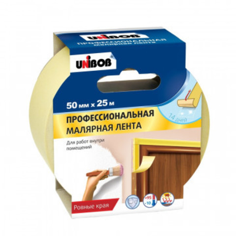 Клейкая лента малярная Unibob 50мм х 25м проф. для внутренних работ