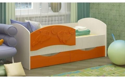 Детская кровать Дельфин-3 МДФ оранжевый, 80х160