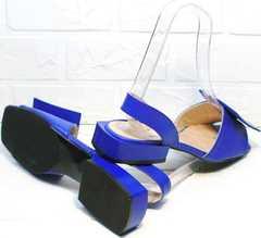 Кожаные босоножки на низком ходу стильные сандали женские Amy Michelle 2634 Ultra Blue