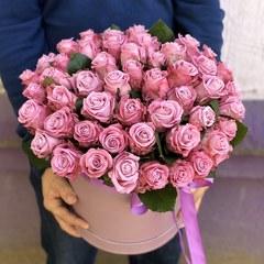 51 сиреневая роза в коробке