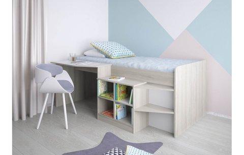 Кровать-чердак детская Polini kids Simple со столом и полками 4000 , вяз-белый