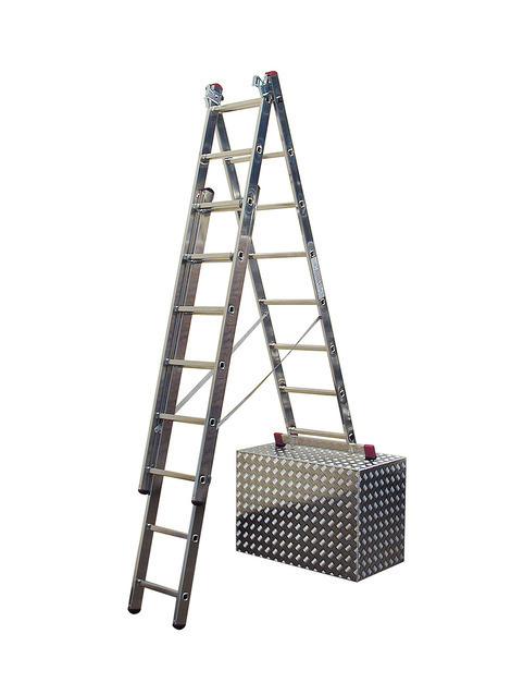Лестница алюминиевая, трехсекционная, KRAUSE CORDA с доп. функцией 3х11