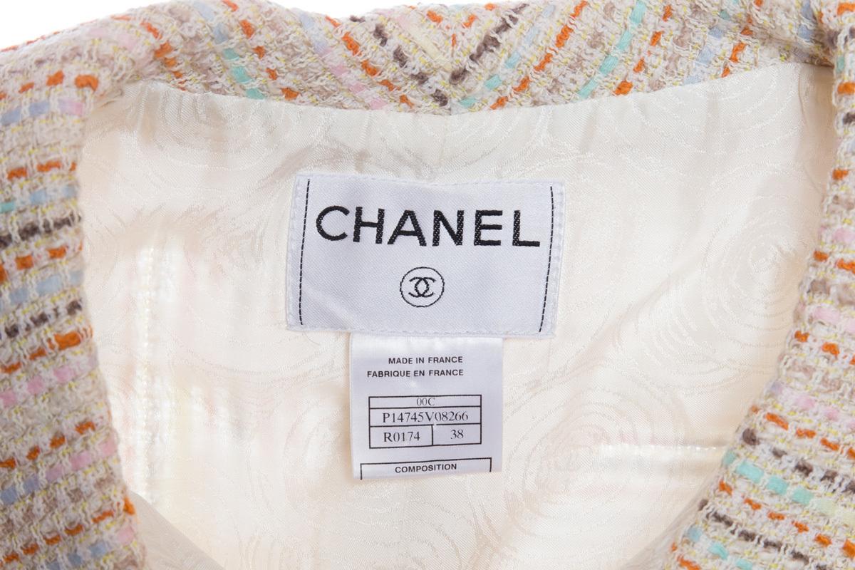 Очаровательный твидовый жакет в полоску от Chanel, 38 размер