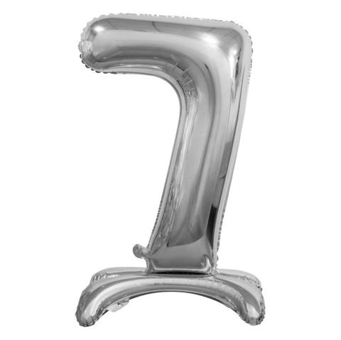 Цифра 7 Серебряная на подставке