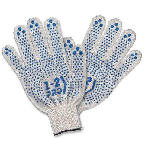 Перчатки трикотаж. точеч. ПВХ покрытие 1-2-PRO 4-х нитка белая 10 класс