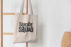 Сумка-шоппер с принтом Отряд самоубийц (Suicide Squad) бежевая 0010
