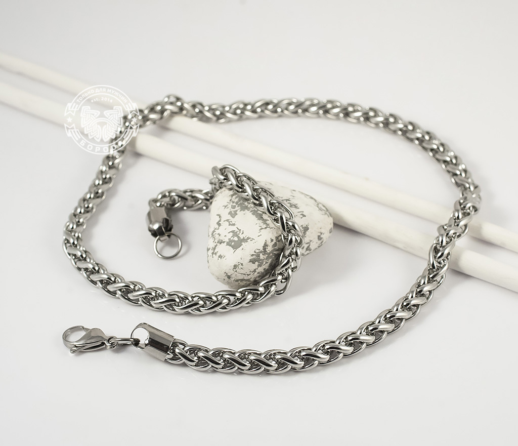 PM215-3 Массивная цепочка из ювелирной стали интересного плетения (58 см) фото 03
