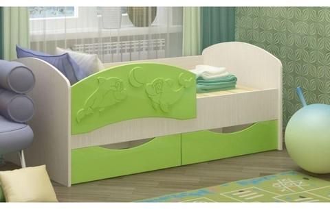 Детская кровать Дельфин-3 МДФ салатовый, 80х160