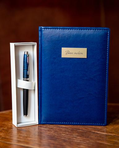 Набор с гравировкой: Ежедневник  и ручка роллер Parker (Паркер) IM Premium SE Blue origin