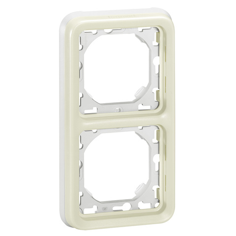 Рамка на 2 поста, вертикальная с суппортом для встроенного монтажа. Цвет Белый. Legrand Plexo (Легранд Плексо). 069696