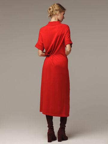 Женское красное платье из 100% шерсти - фото 2