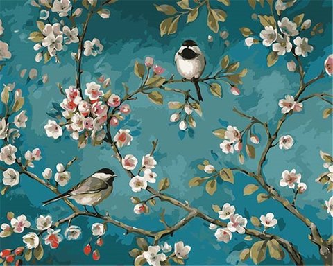 Алмазная Мозаика 30x40 Птицы на ветке на голубом фоне