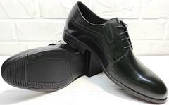 Черные классические туфли дерби мужские Ikoc 3416-1 Black Leather.