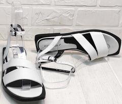 Модные сандалии босоножки женские натуральная кожа Brocoli H1886-9165-S873 White.