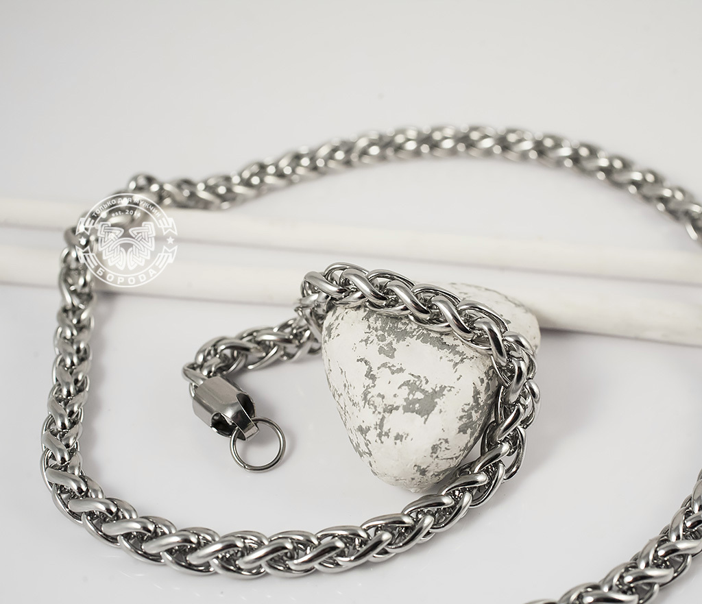 PM215-3 Массивная цепочка из ювелирной стали интересного плетения (58 см) фото 04