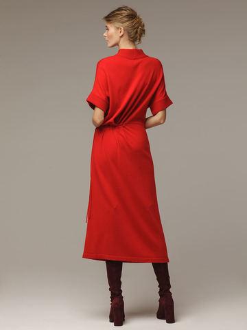 Женское красное платье из 100% шерсти - фото 3