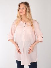 Евромама. Блуза для беременных и кормящих в полоску, пудра вид 2