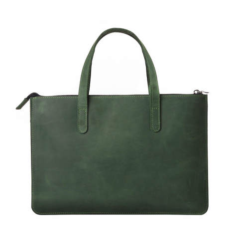 Зеленая кожаная сумка Gmakin для MacBook