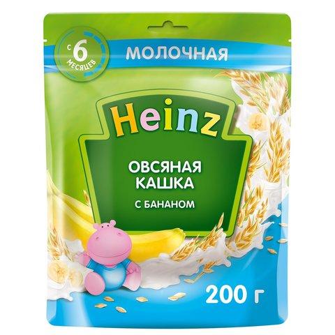 Каша Heinz молочная овсяная с бананом Омега 3, 6+ мес