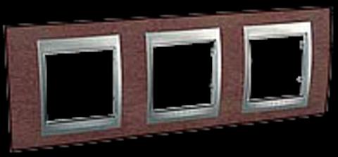Рамка на 3 поста. Цвет Табачное дерево-алюминий. Schneider electric Unica Top. MGU66.006.0M4