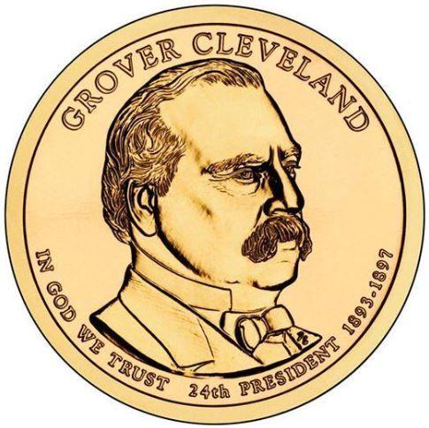 1 доллар 24-й президент США Гровер Кливленд 2012 год