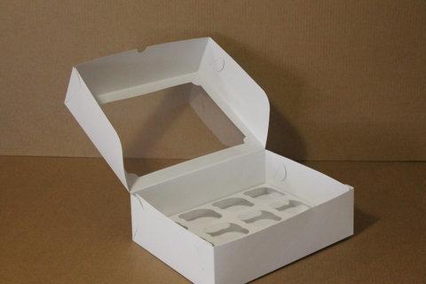 Коробка для 12 капкейков 35*25*10 с окном, белая