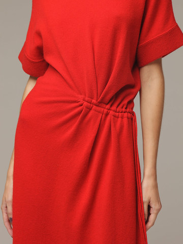 Женское красное платье из 100% шерсти - фото 5