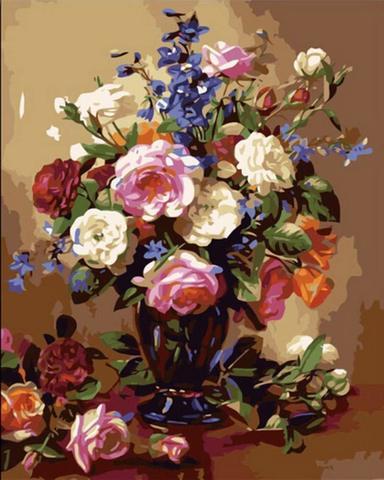 Алмазная Мозаика 30x40 Букет разноцветных роз в черной вазе