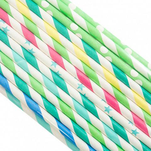 Трубочки бумажные Ассорти, 200*6мм, 25шт