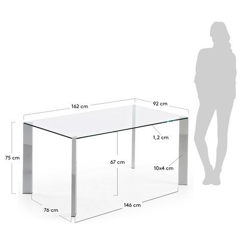 Стол стеклянный Corner хромированный