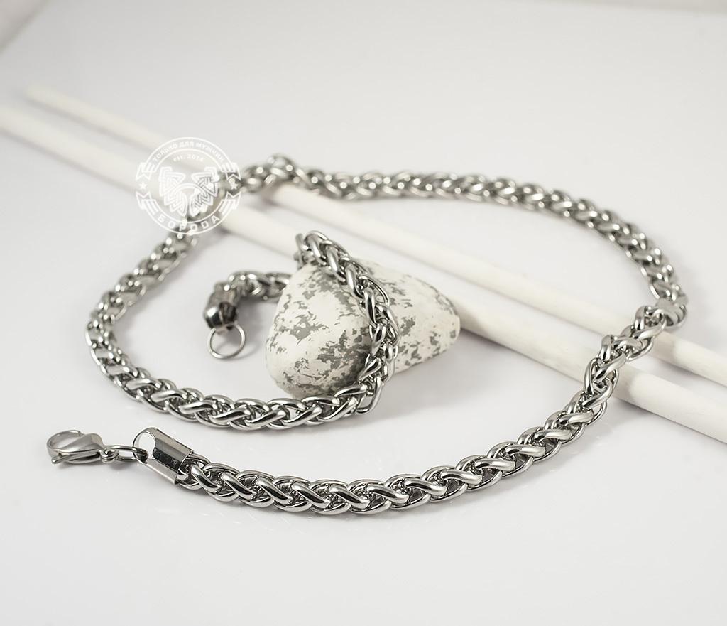 PM215-3 Массивная цепочка из ювелирной стали интересного плетения (58 см) фото 05