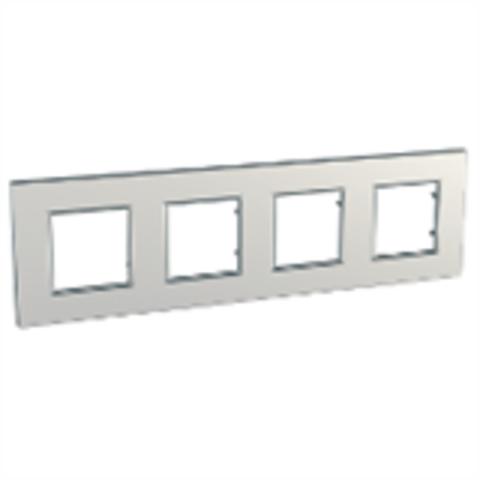 Рамка на 4 поста. Цвет Серебро. Schneider Electric Unica Quadro. MGU6.708.55
