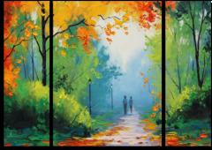 """Модульная картина """"Золотистые листья"""""""