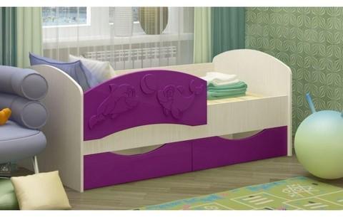 Детская кровать Дельфин-3 МДФ сиреневый, 80х160